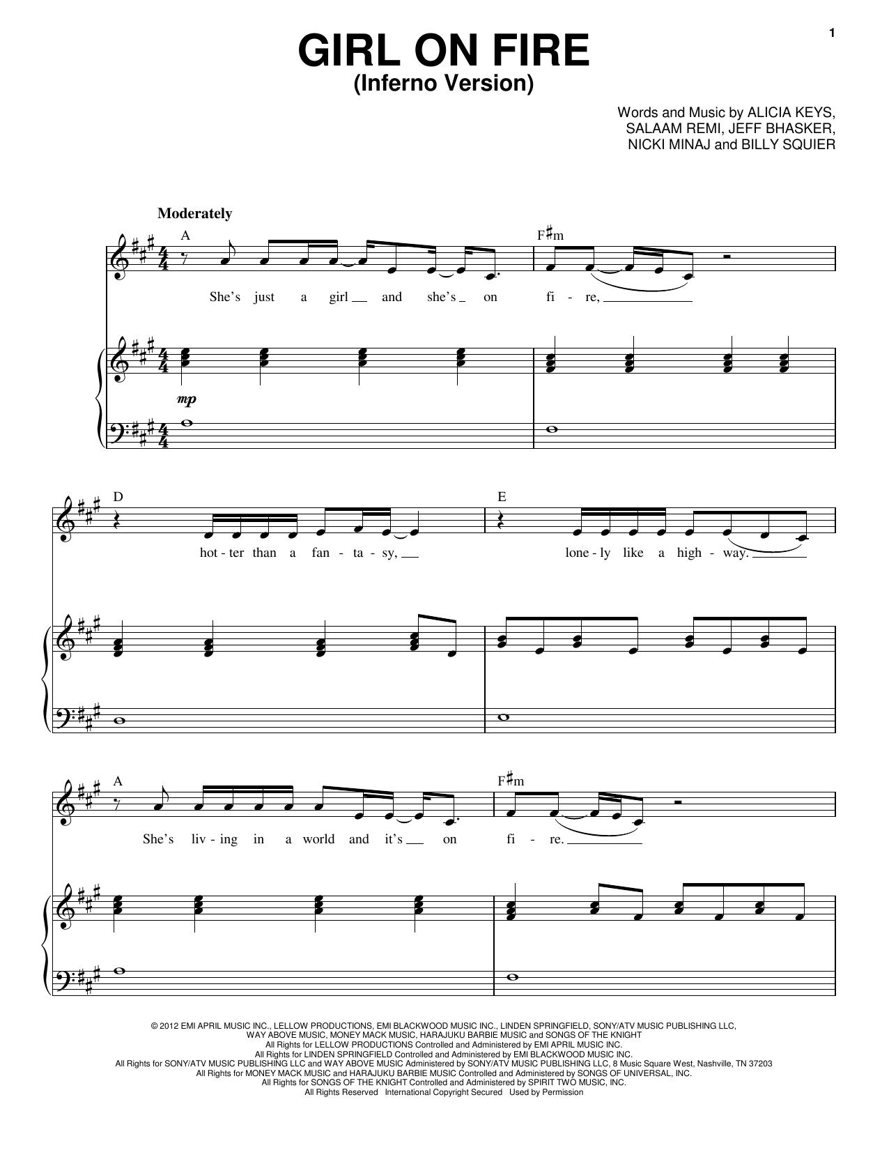 Partition piano Girl On Fire (Inferno Version) (feat. Nicki Minaj) de Alicia Keys - Piano Voix