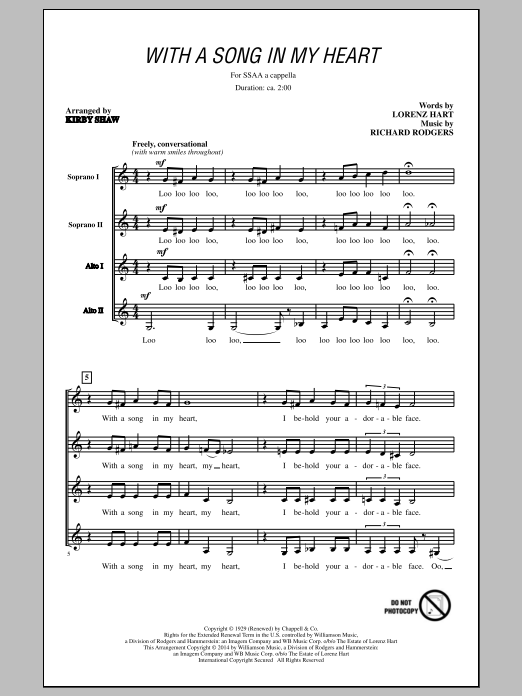 With A Song In My Heart (arr. Kirby Shaw) Sheet Music