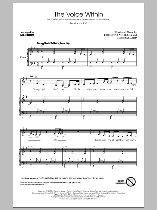 Partition chorale The Voice Within de Glen Ballard - SATB