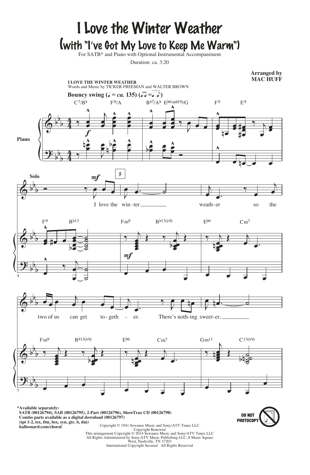 I Love The Winter Weather Sheet Music