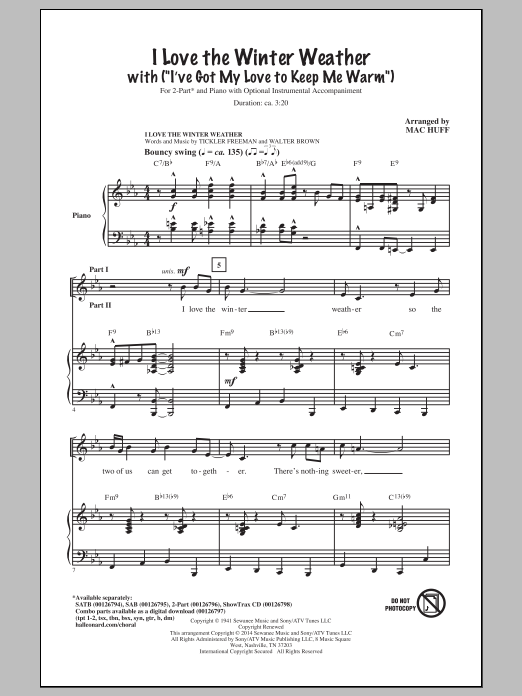 I Love The Winter Weather (arr. Mac Huff) Sheet Music