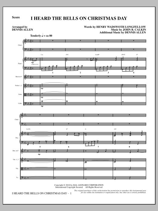 I Heard the Bells on Christmas Day (COMPLETE) sheet music for orchestra/band by Dennis Allen and Henry Wadsworth Longfellow. Score Image Preview.