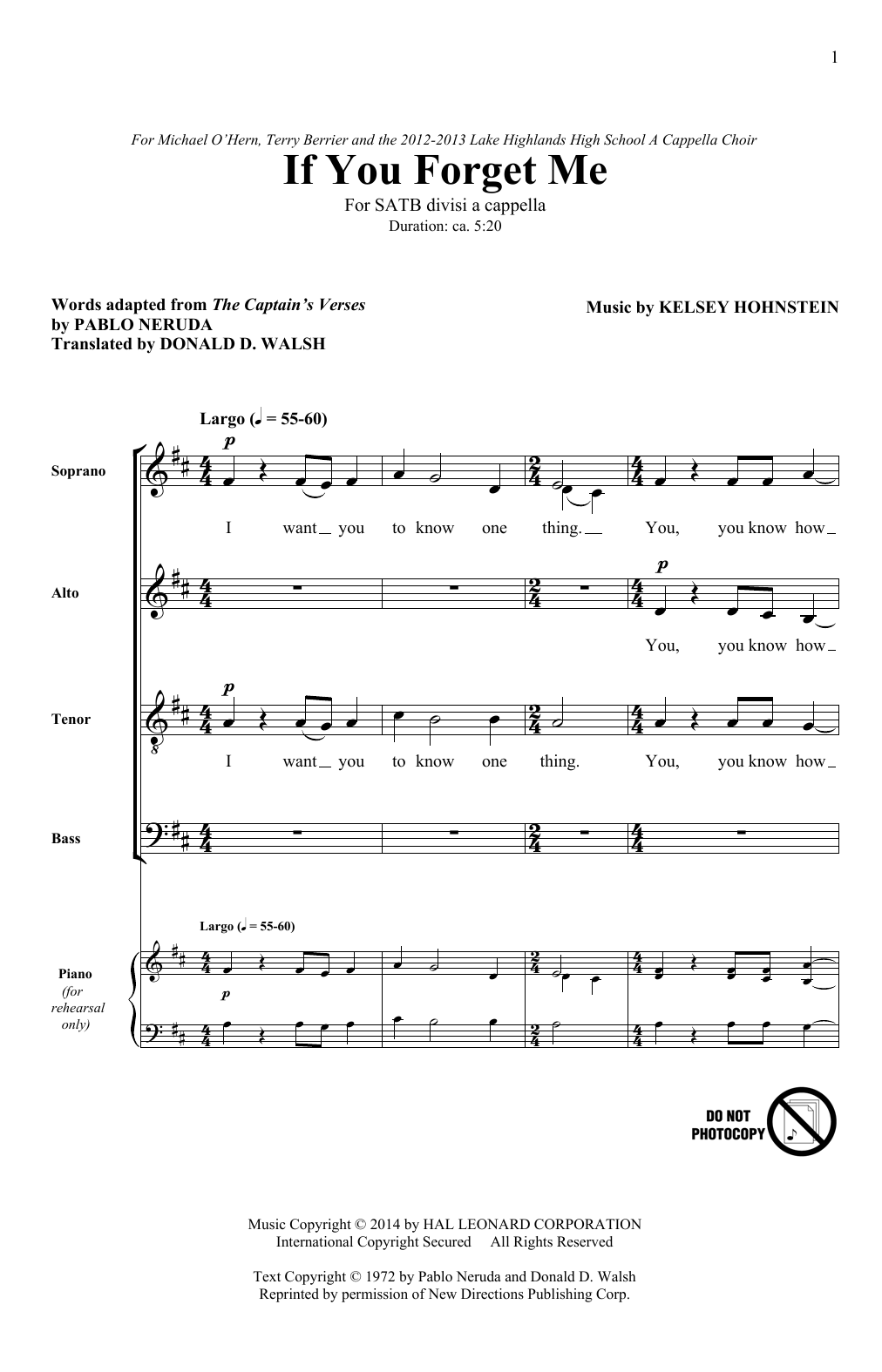 If You Forget Me Sheet Music