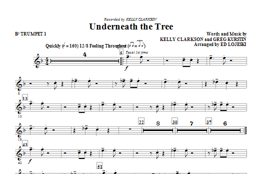 Underneath the Tree (complete set of parts) sheet music for orchestra/band by Ed Lojeski, Greg Kurstin and Kelly Clarkson. Score Image Preview.
