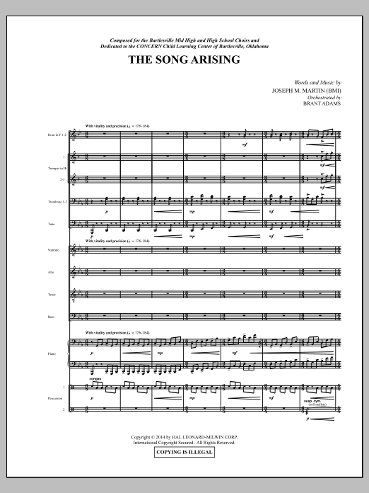 The Song Arising (COMPLETE) sheet music for orchestra/band by Joseph M. Martin. Score Image Preview.