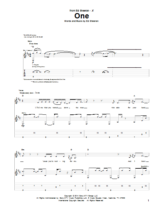 Tablature guitare One de Ed Sheeran - Tablature Guitare