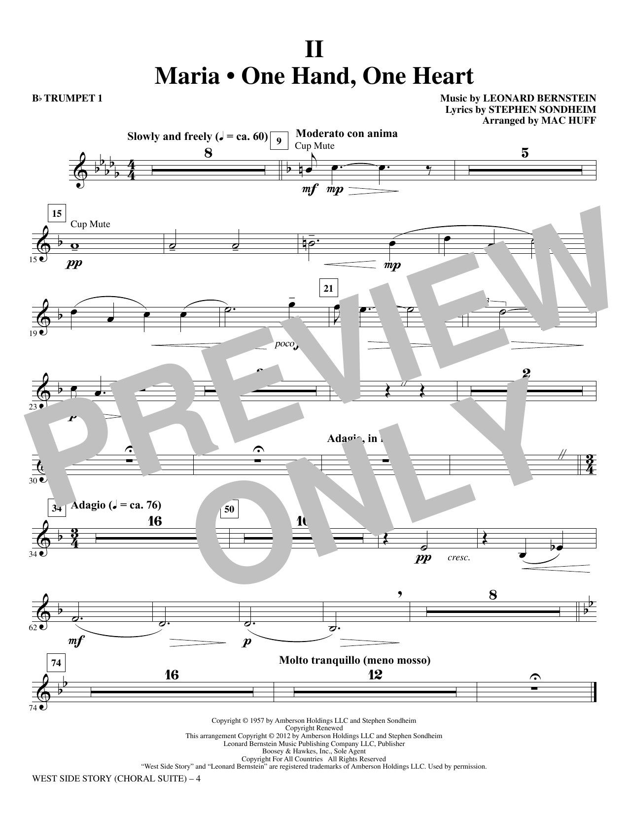West Side Story - Bb Trumpet 1 (Choir Instrumental Pak)