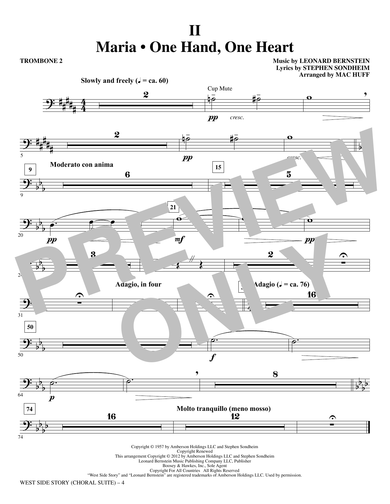 West Side Story - Trombone 2 (Choir Instrumental Pak)