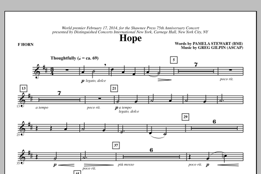 Hope - F Horn Sheet Music