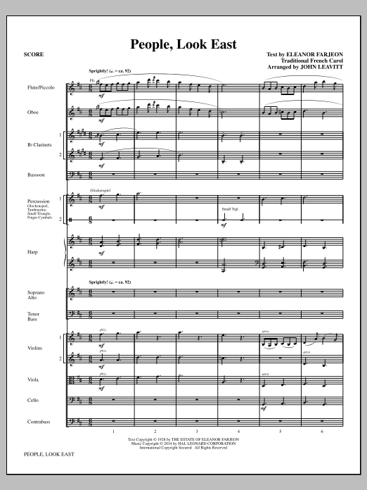 People, Look East (COMPLETE) sheet music for orchestra/band by John Leavitt and Eleanor Farjeon. Score Image Preview.