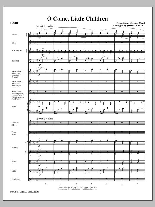O Come, Little Children (COMPLETE) sheet music for orchestra/band (chamber ensemble) by John Leavitt, Cristoph Von Schmid and J.A.P. Schulz. Score Image Preview.