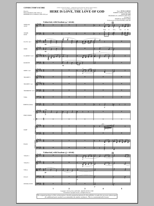 Here Is Love, the Love of God (COMPLETE) sheet music for orchestra/band by Joseph M. Martin and Frederick M. Lehman. Score Image Preview.