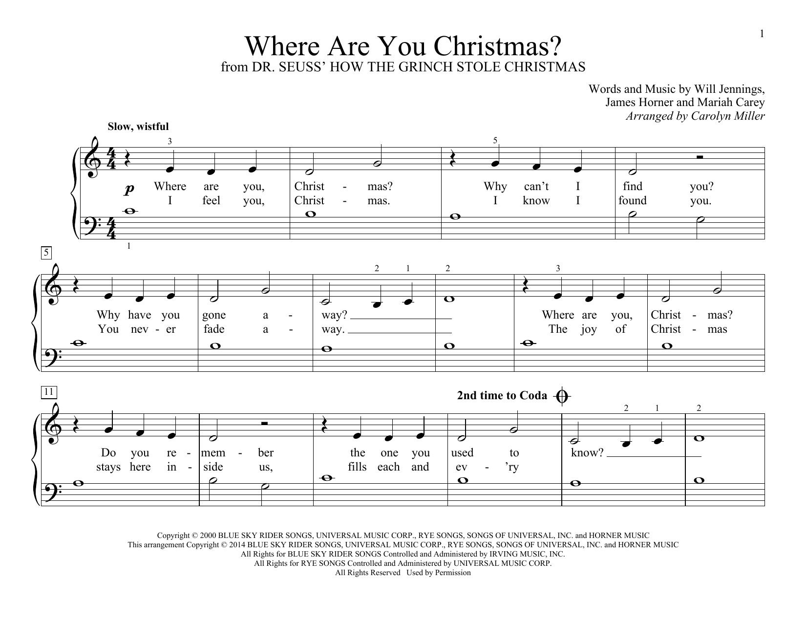 Where Are You Christmas? Sheet Music