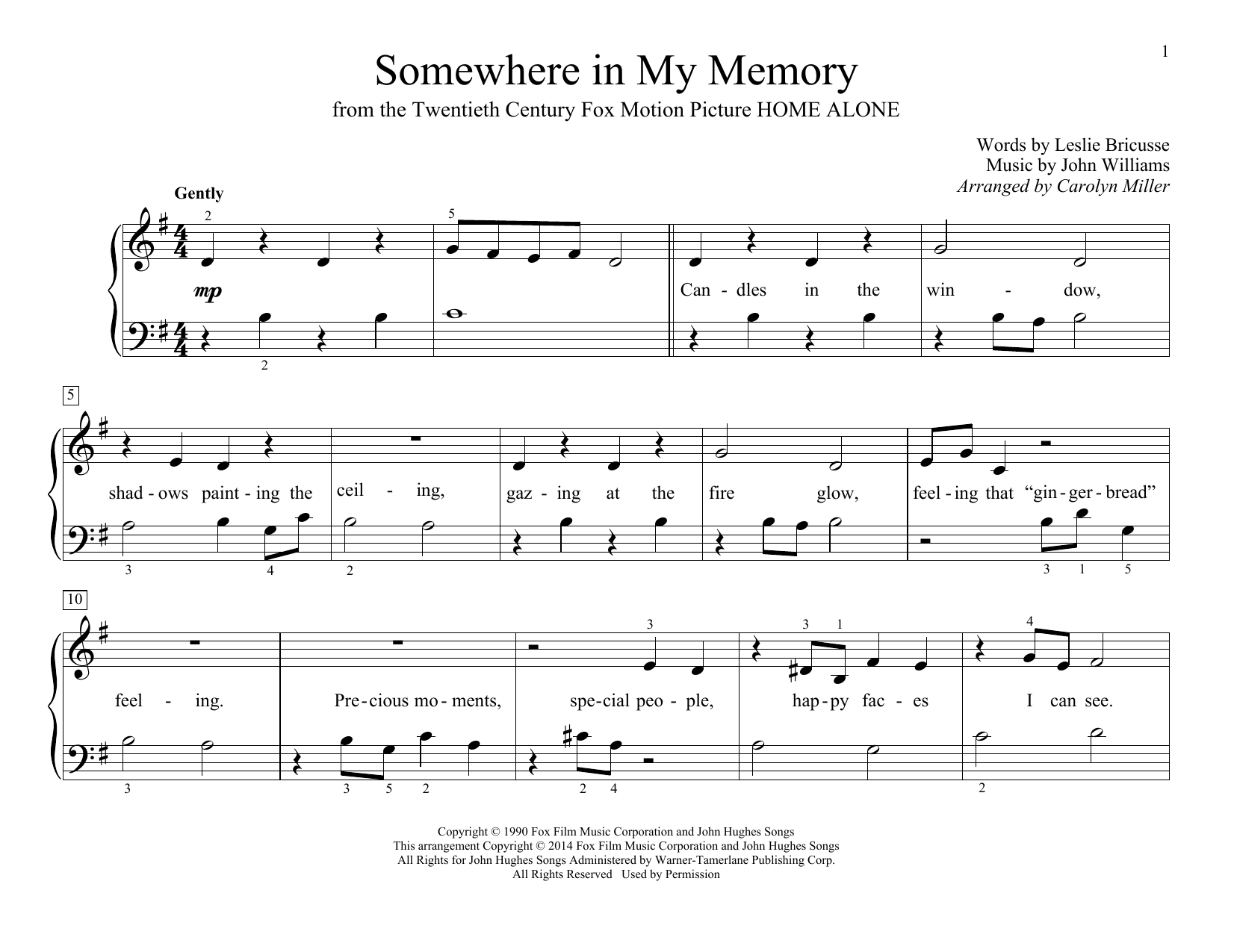 Somewhere In My Memory Sheet Music