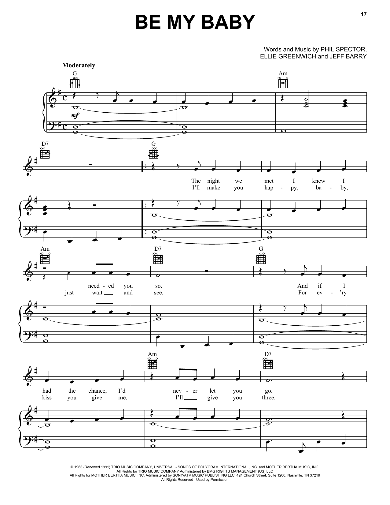 Be My Baby Sheet Music