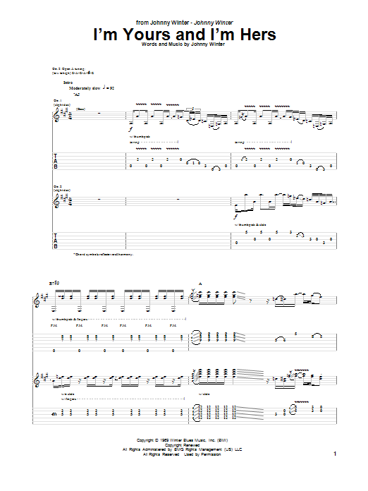 Tablature guitare I'm Yours and I'm Hers de Johnny Winter - Tablature Guitare