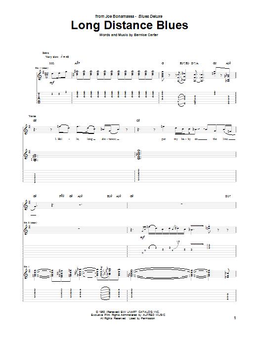 Long Distance Blues Sheet Music