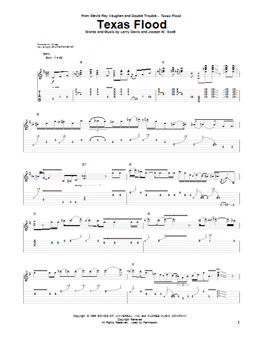 Tablature guitare Texas Flood de Stevie Ray Vaughan - Tablature Guitare