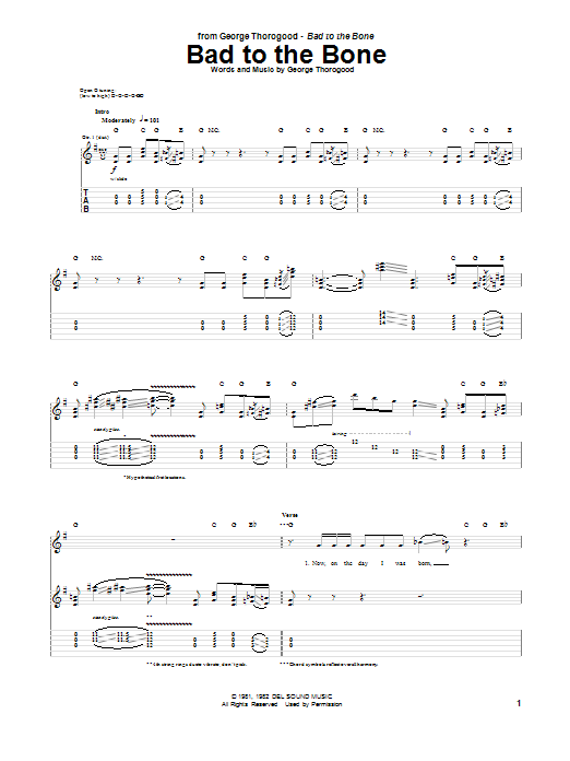 Bad To The Bone Sheet Music
