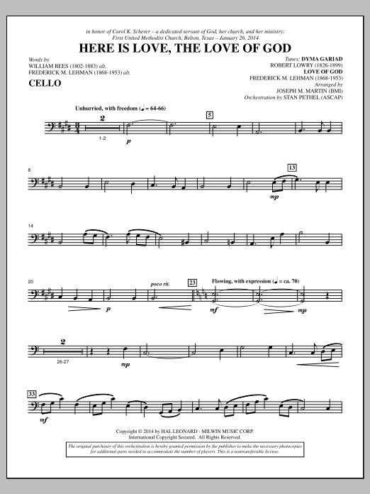 Here Is Love, the Love of God - Cello Sheet Music