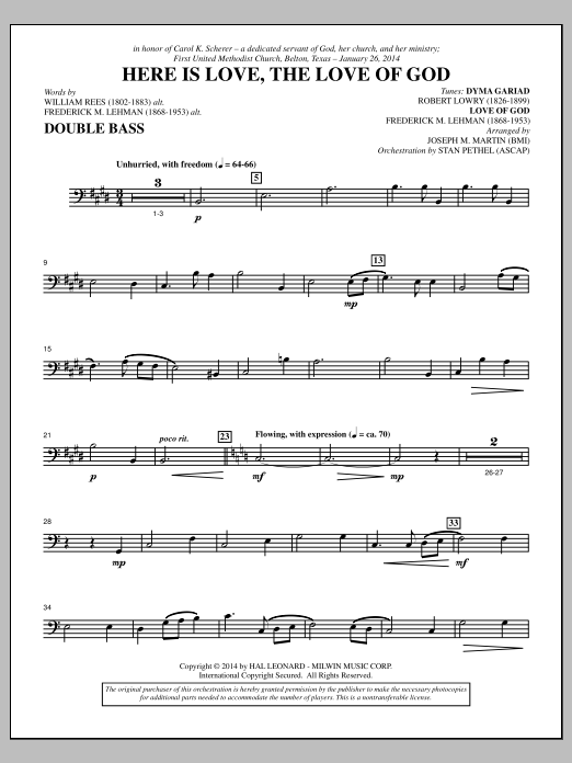 Here Is Love, the Love of God - Double Bass Sheet Music