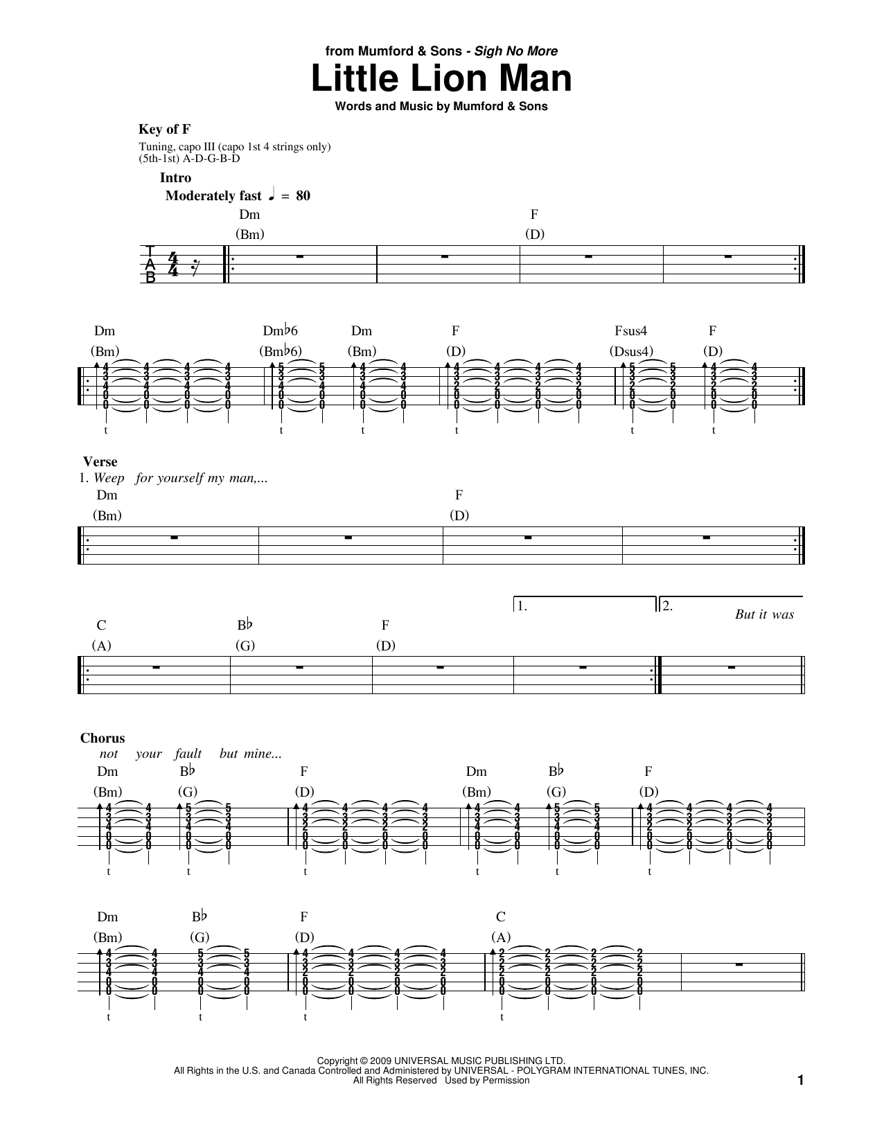 Little lion man sheet music by mumford sons banjo 178449 little lion man sheet music hexwebz Images