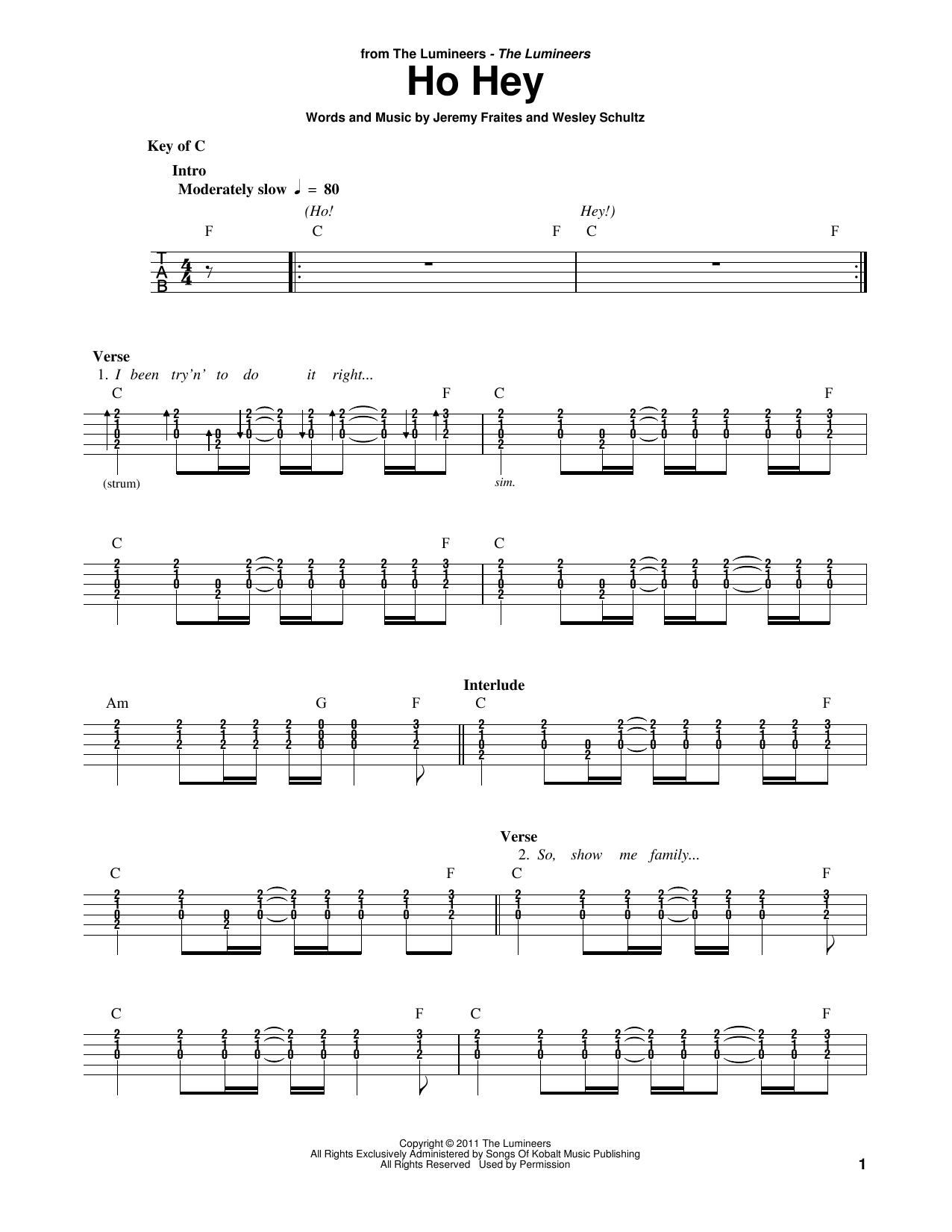 Ho Hey (Banjo Tab)