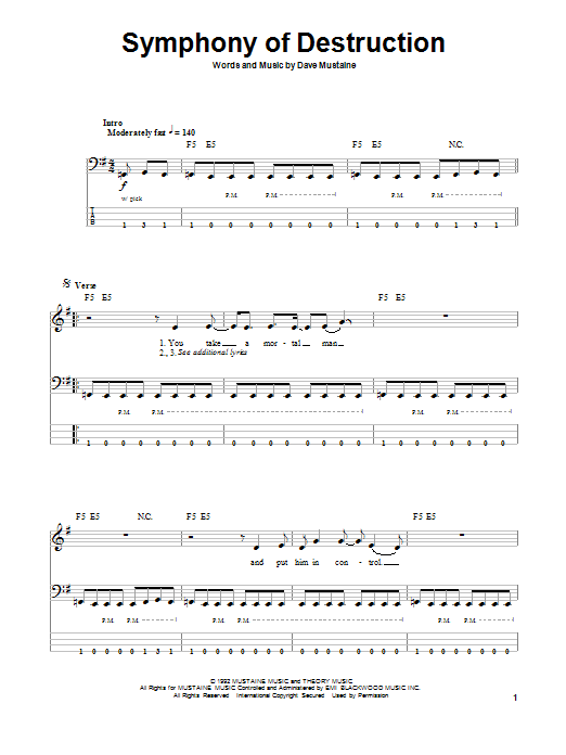 Tablature guitare Symphony Of Destruction de Megadeth - Tablature Basse
