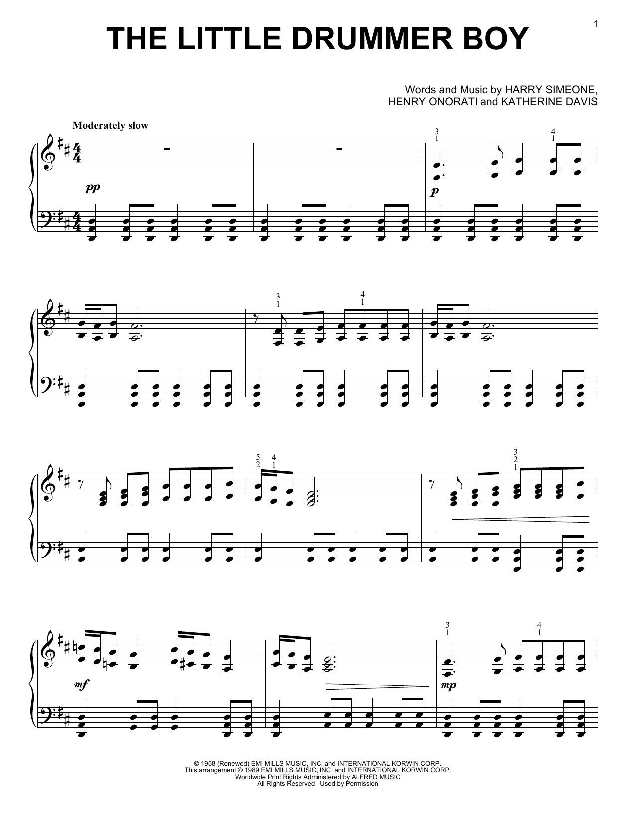 Partition piano The Little Drummer Boy de Harry Simeone - Piano Solo