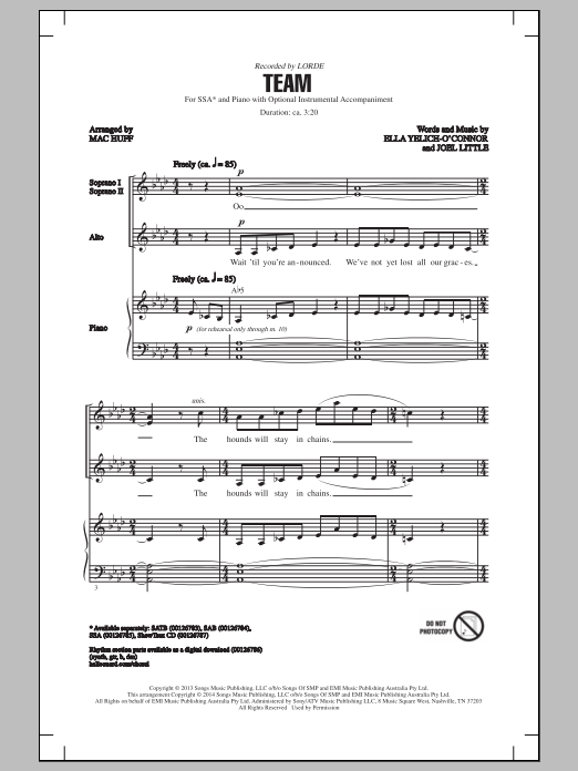 Team Sheet Music