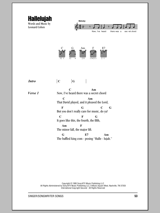 Hallelujah Sheet Music By Leonard Cohen Lyrics Chords 155795
