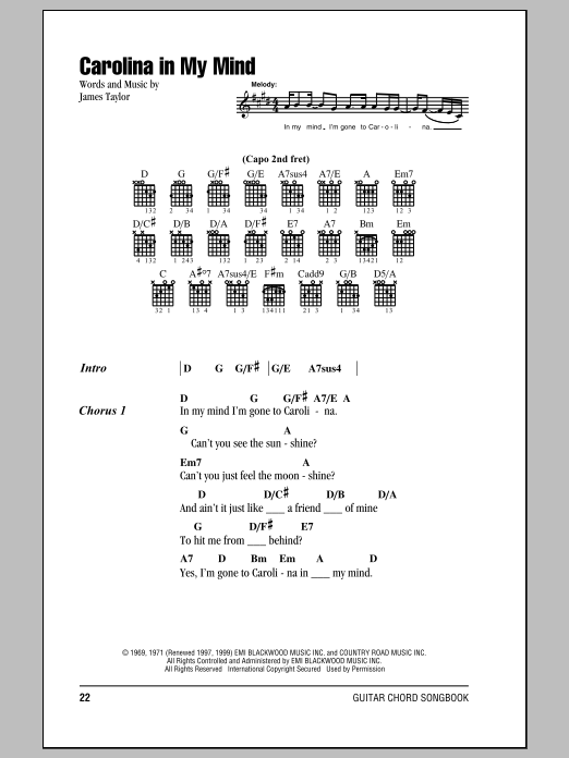 Carolina In My Mind Sheet Music