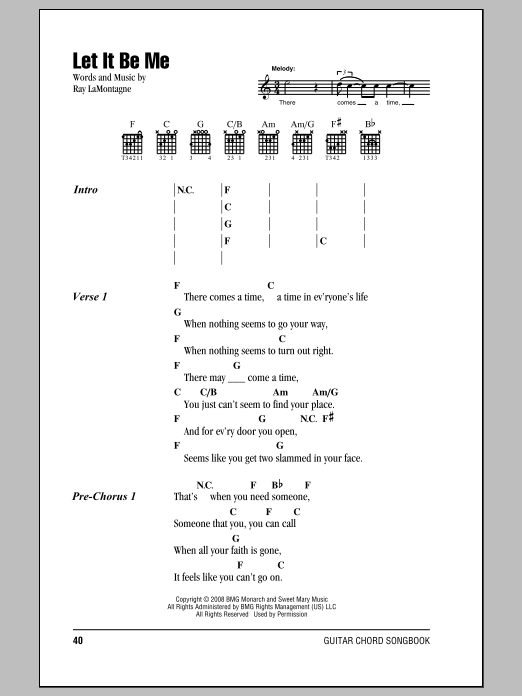 Let It Be Me Sheet Music Ray Lamontagne Lyrics Chords