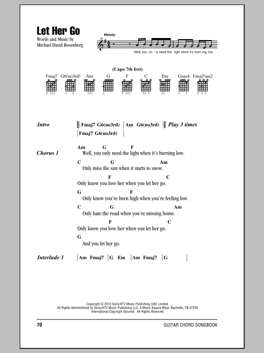 Guitar guitar chords of let her go : Let Her Go | Sheet Music Direct