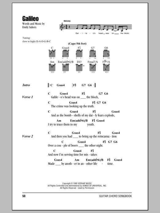 Galileo Sheet Music