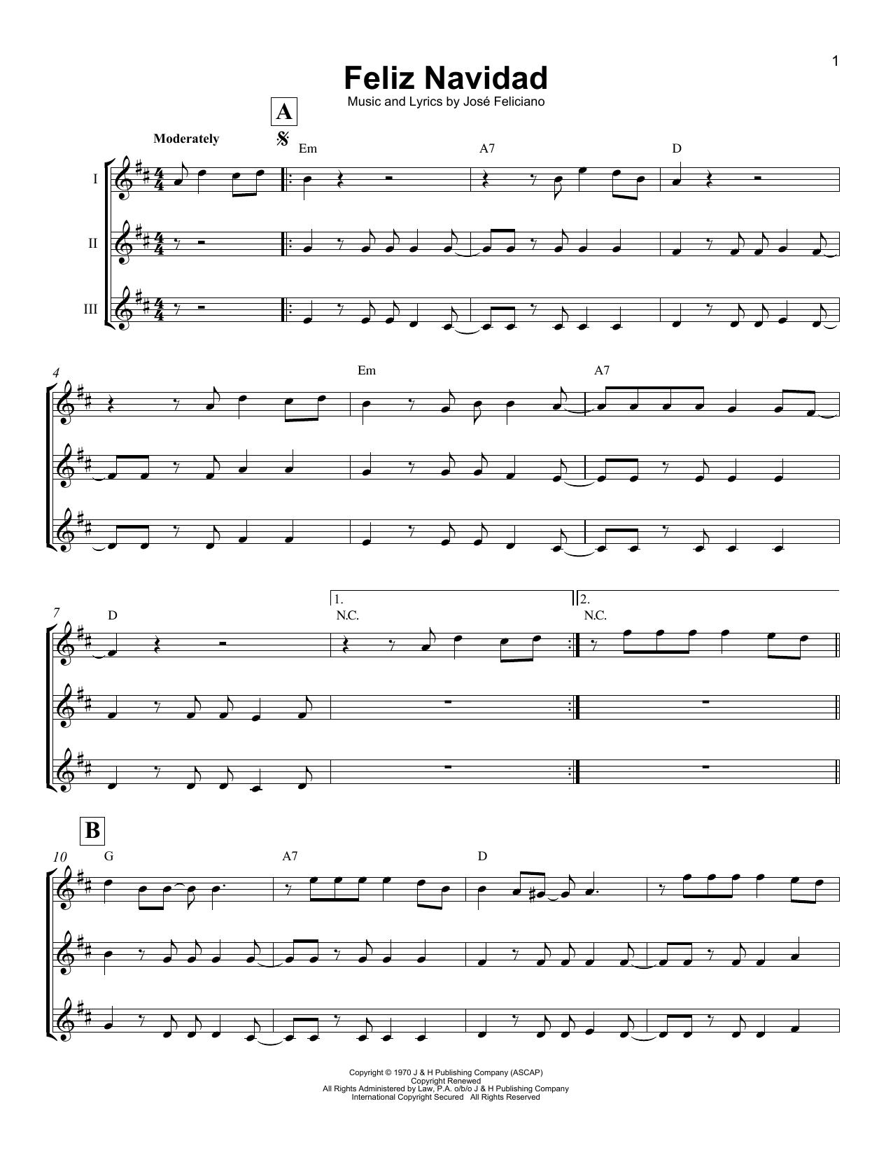 Feliz Navidad (Ukulele Ensemble) - Print Sheet Music Now