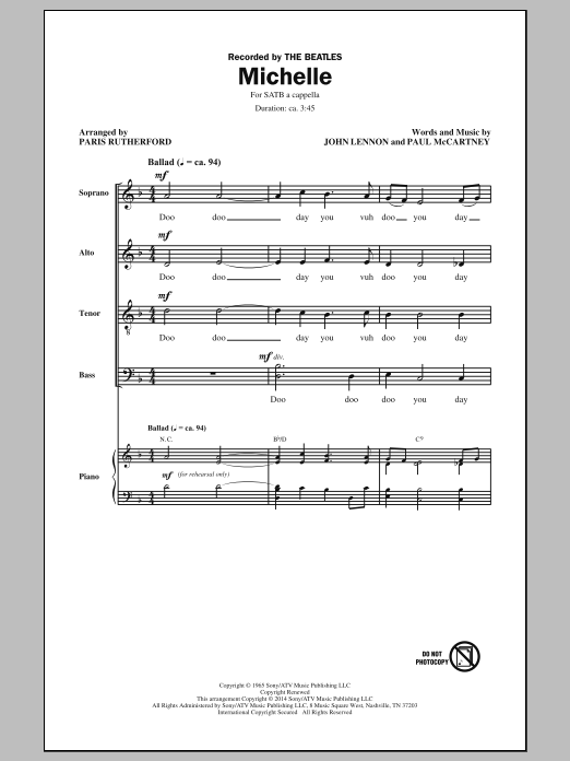 Michelle (arr. Paris Rutherford) Sheet Music