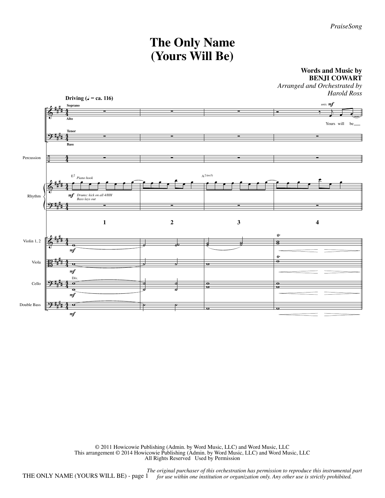 The Only Name (Yours Will Be) - Full Score Sheet Music