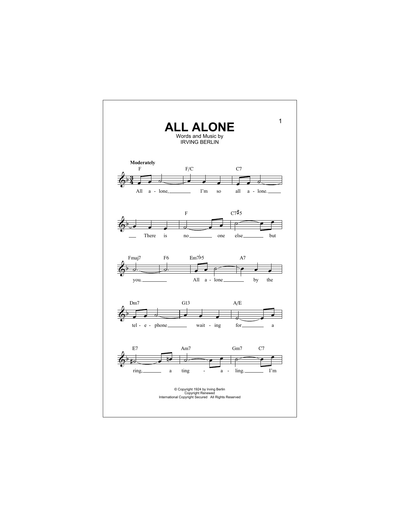 All Alone Sheet Music