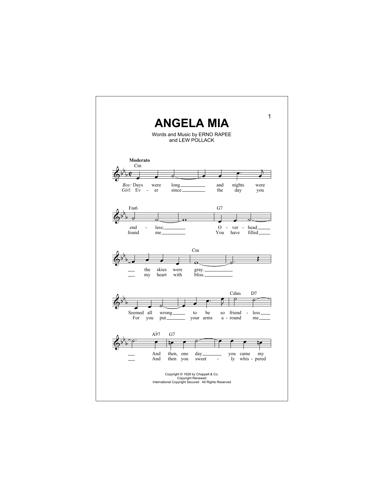 Angela Mia Sheet Music