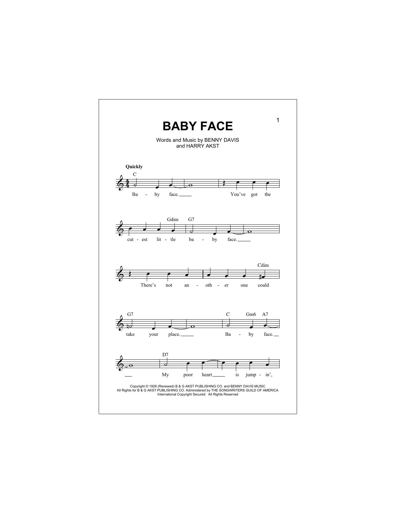 Baby Face Sheet Music