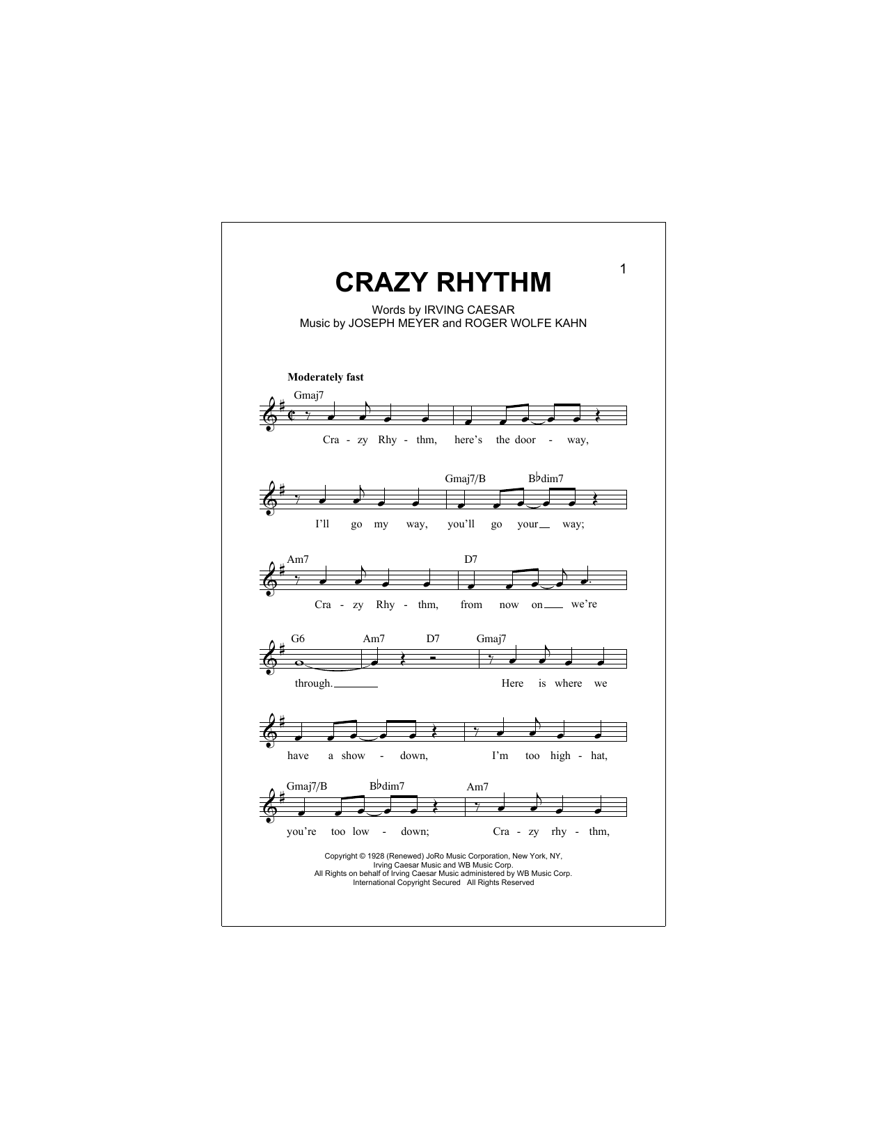 Crazy Rhythm Sheet Music