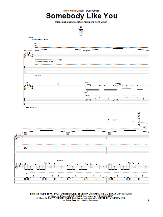 Tablature guitare Somebody Like You de Keith Urban - Tablature Guitare