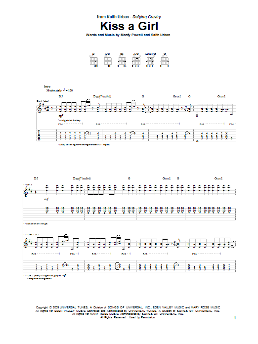 Tablature guitare Kiss A Girl de Keith Urban - Tablature Guitare