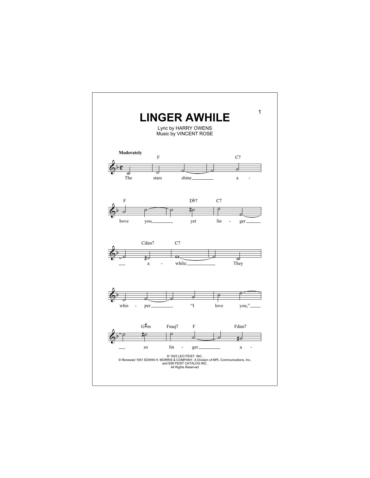 Linger Awhile Sheet Music