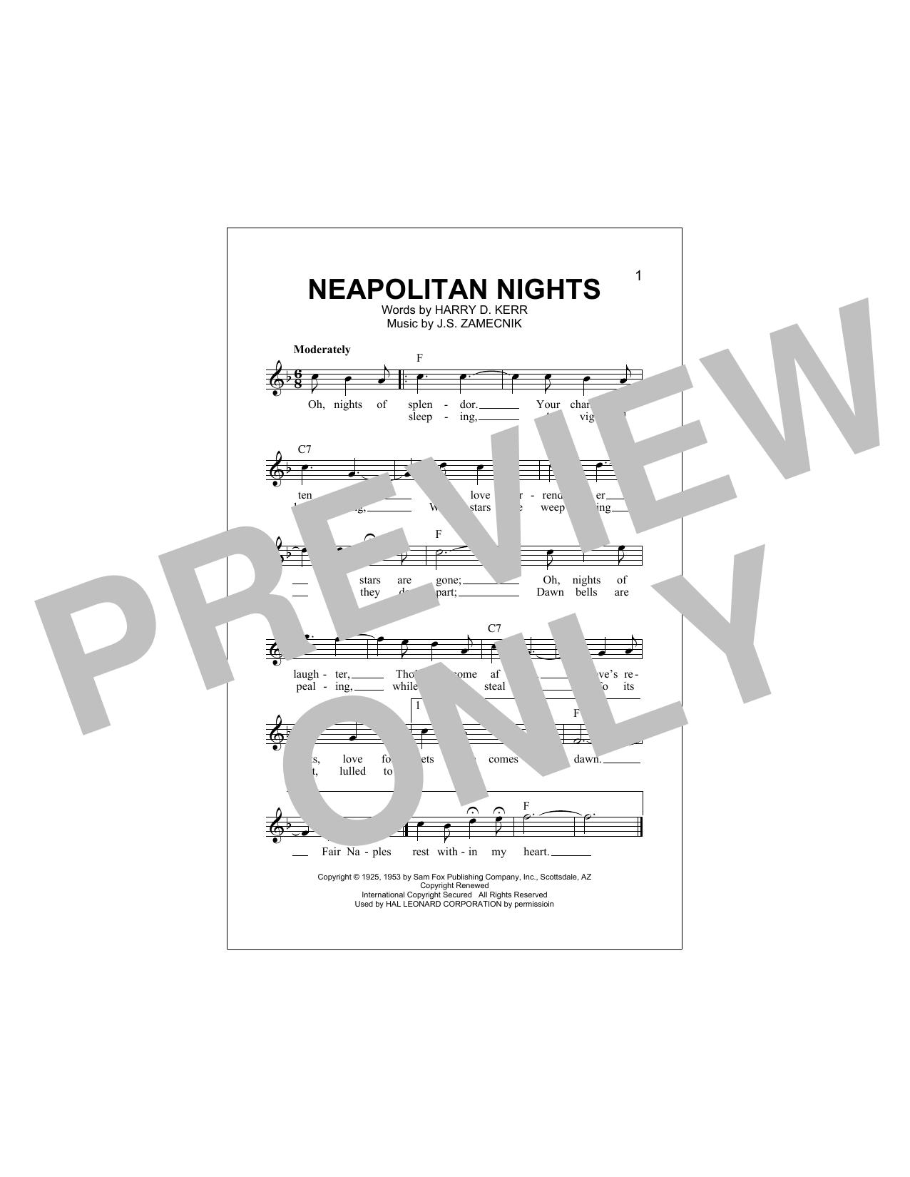 Neapolitan Nights Sheet Music