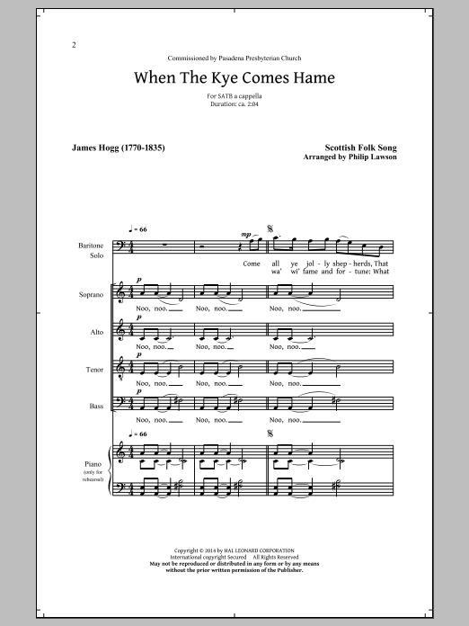 When The Kye Comes Hame (arr. Philip Lawson) Sheet Music