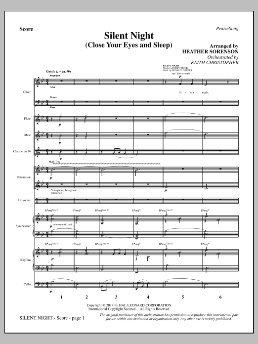 Silent Night (Close Your Eyes and Sleep) (COMPLETE) sheet music for orchestra/band by Heather Sorenson, Franz Gruber, John F. Young and Joseph Mohr. Score Image Preview.