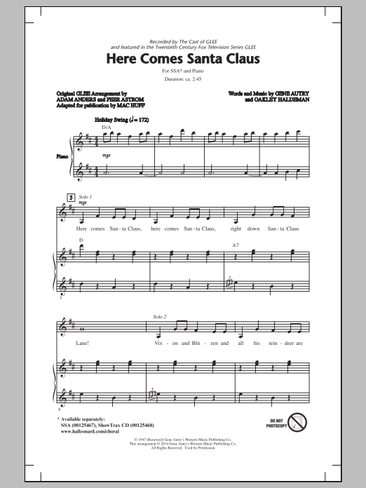 Here Comes Santa Claus (Right Down Santa Claus Lane) (arr. Mac Huff) Sheet Music
