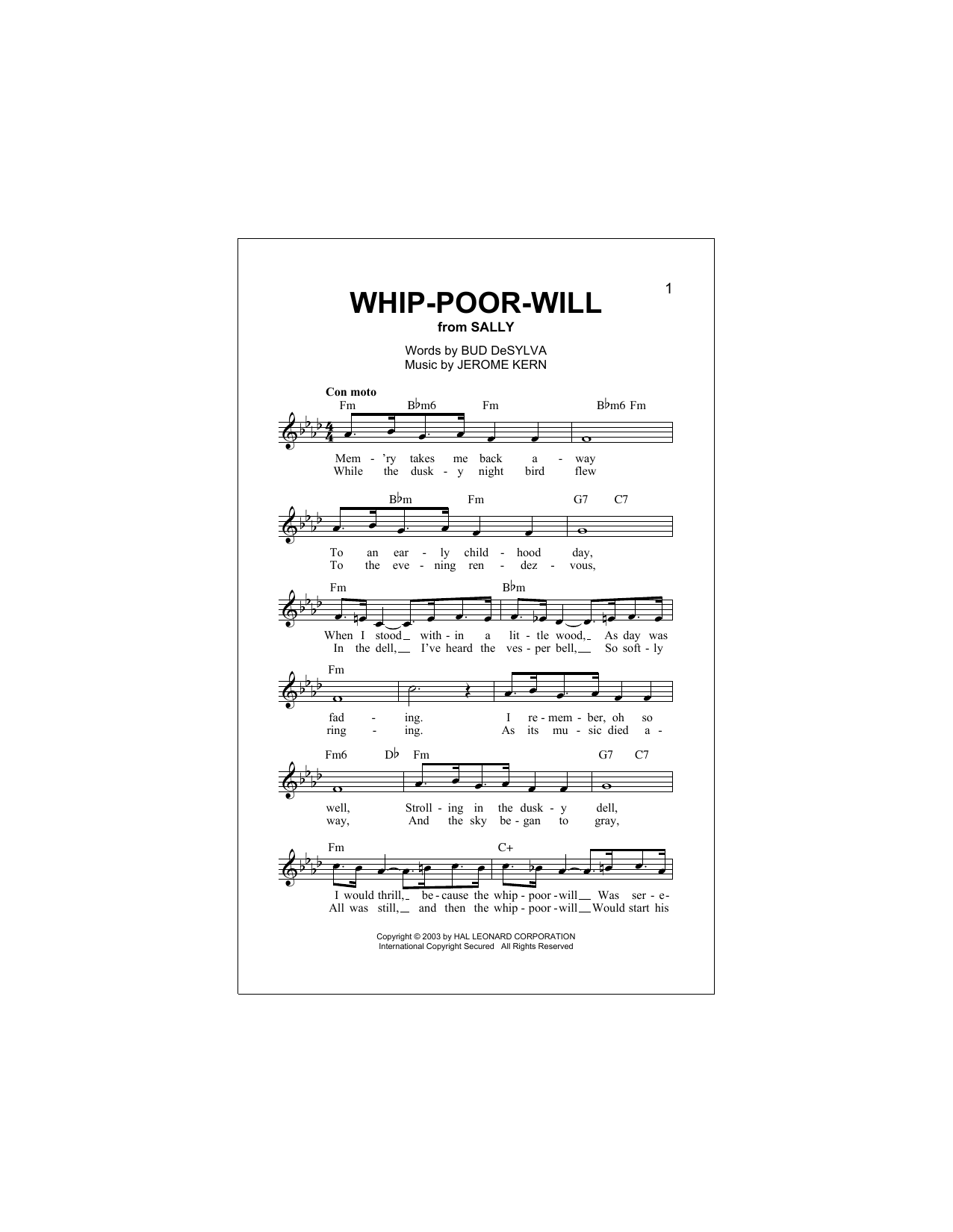 Whip-Poor-Will Sheet Music